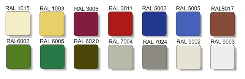 Металлочерепица Зартмет РАЛ RAL 3005 8017 6005