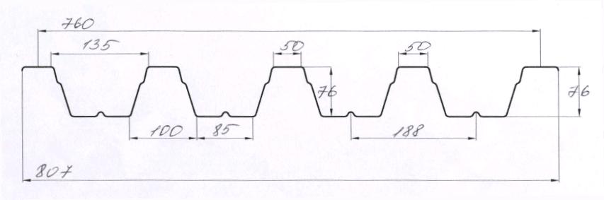 Геометрия профнастила ПК75 Н75 Киев